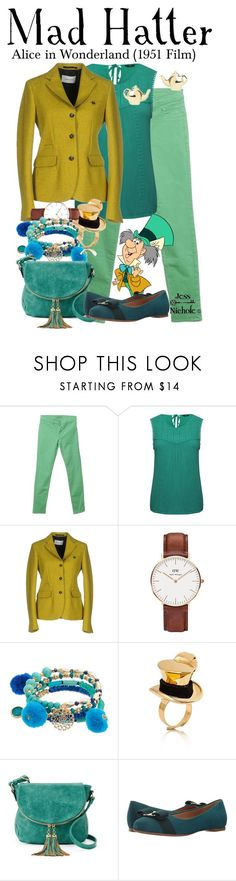 """""""Mad Hatter"""" by jess-nichole ❤ liked on Polyvore featuring J Brand, M&Co, Mauro Grifoni, Daniel Wellington, Disney, Deluxity and Salvatore Ferragamo"""