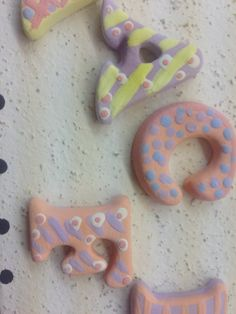 Ceramic Letters waiting to be glazed at The Crafty Cafe