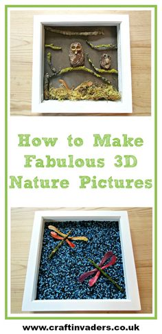 Create fabulous 3D art and pictures out of natural objects such as bark and seeds that you find out on your wild walks