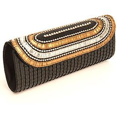 Fabric and Black Embroidered Sequins and Crystals Patna Clutch (India) #odotco #overstock #worldstock
