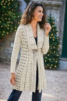 Teressa Crochet Cardi from Soft SurroundingsTunic - Soft Surroundings offers stylish, luxurious & comfortable women's clothes for every size. Feel your best in the softest fabrics from Soft Surroundings.Bound for year-round wear, this airy crochet ca Black Crochet Dress, Crochet Coat, Crochet Cardigan Pattern, Crochet Jacket, Crochet Blouse, Crochet Clothes, Glamorous Evening Gowns, Gilet Long, Sequin Party Dress