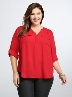 Size 3. Georgette Pullover Blouse, JESTER RED