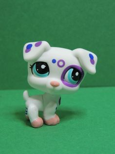 #2306 Chien Dog White Jack Russell purple spotted LPS Littlest Pet Shop Figurine