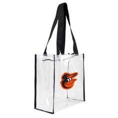Little Earth Productions 601311-Orio Baltimore Orioles Clear Square Stadium Tote, Women's, As Shown