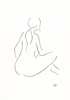 Minimalist nude figure. Black and white drawing. Original by siret