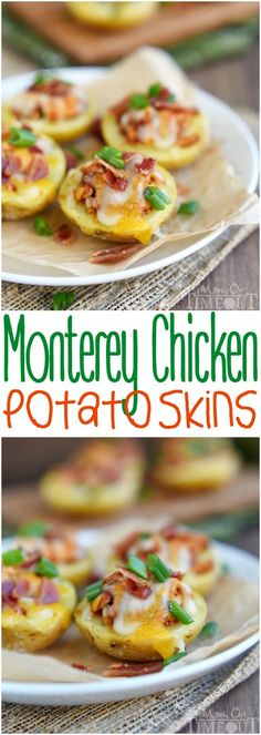 Monterey Chicken Potato Skins - Loaded with barbecue chicken, cheese, and bacon, they're the perfect appetizer for the kids! http://www.momontimeout.com/2015/01/monterey-chicken-potato-skins/
