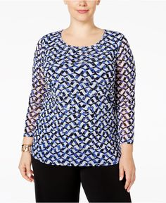 $47.93 Alfani Plus Size Tiered Printed Mesh Top, Only at Macy's - Tops - Plus Sizes - Macy's