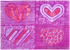 Kids Artists: Patterned hearts like Jim Dine