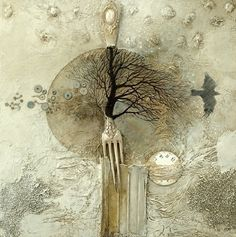 That fork! It is perfect!  Mixed media art at its' best!