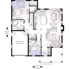 Cottage Style House Plan - 2 Beds 1.5 Baths 1452 Sq/Ft Plan #23-562 Floor Plan - Main Floor Plan - Houseplans.com