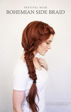 Try to recreate this bohemian side braid.
