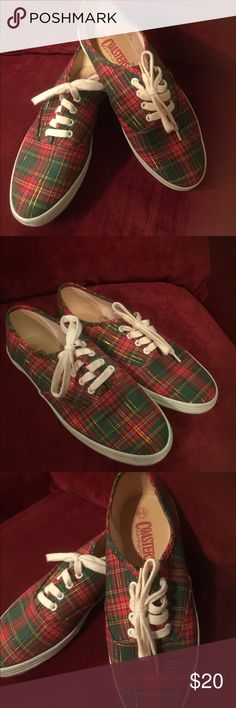 Holiday Plaid Sneakers Super cute vintage 80's red & green holiday sneakers Sz 6.5 Made by Coasters Great condition/ worn once coasters Shoes Sneakers