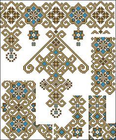 Beading _ Pattern - Motif / Earrings / Band ___ Square Sttich or Bead Loomwork ___ Cross Stitch Borders, Cross Stitch Flowers, Cross Stitch Charts, Cross Stitch Designs, Cross Stitching, Cross Stitch Embroidery, Cross Stitch Patterns, Embroidery Patterns Free, Beading Patterns