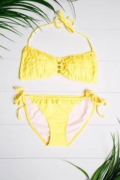 Yellow Ruffle Bikini Top