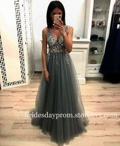 Prom Dresses V Neck Tulle Beads Floor Length, SSM, This dress could be custom made, there are no extra cost to do custom size and color. Sexy Dresses, Dresses Near Me, Prom Dresses For Teens, Beautiful Prom Dresses, Cheap Prom Dresses, Modest Dresses, The Dress, Elegant Dresses, Pretty Dresses