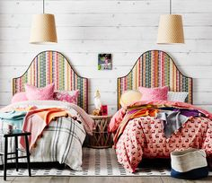 When prints and patterns come together perfectly and literally SING! I could stare at this image all day… Let me introduce you to the GENEVIEVE bedhead - a colourful, light hearted mix of colours in Anna Spiro Textiles 'Kahuna' fabric. A huge thank you to the talented team Beck Simon Stylist and Lisa Cohen Photography for bringing this to life so beautifully! www.heatherlydesign.com.au