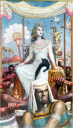 "Cleopatra On The Nile (Original) (Signed) art by John Millar Watt, Gouache on Board (7"" x 12"") 1961,  Signed by Artist. This is the original art painted on board for Princess comic 1961."