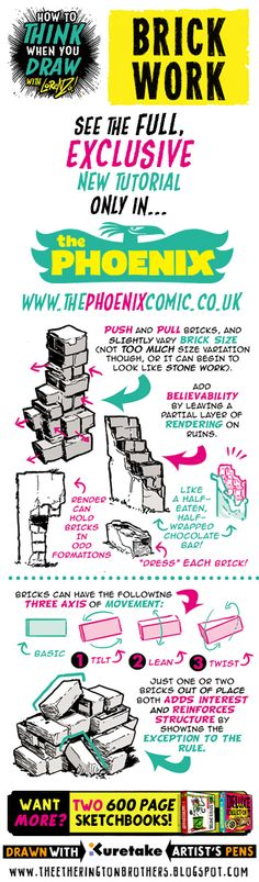 This week's tutorial for The Phoenix looks at How to THINK when you draw BRICKWORK, here's a taster! All the artwork below was drawn using...