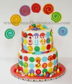Candy Cake: birthday cake idea for Brylee.  I love the lollipops!