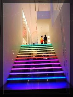 No one ever said you had to pick one color to light your stairs. #beBold
