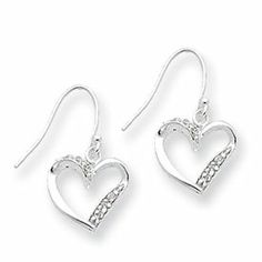 Sterling Silver CZ Heart Earrings - JewelryWeb