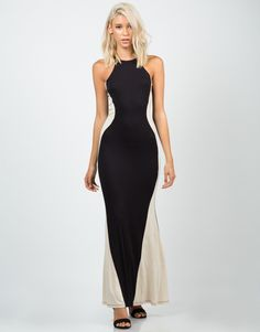 Color Contrast Maxi Dress – Dresses – 2020AVE. Smart way of making the waistline thinner