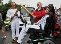 De Montfort University Technology student Matt Gopsill was thrilled when he not only carried the Olympic Torch but was handed the flame by football legend Gary Lineker.