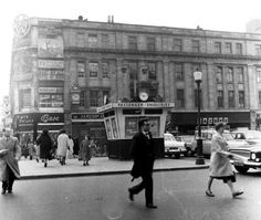 """""""Dublin History ~ Crossing O'Connell Street the CIE Kiosk in the centre of the road by the Pillar early Dublin Street, Dublin City, Dublin Ireland, Ireland Travel, Old Pictures, Old Photos, Images Of Ireland, Photo Engraving, Ireland Homes"""