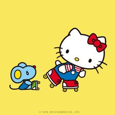 Hello Kitty and her friend Joey. Joey is very athletic and good at sports, especially on the track. He is intelligent and very charming. Joey is one of the most popular students in school.