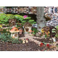 Backyard Garden Stone Evergreen Garden New Creative Outdoor-Safe Mini Garden Polystone Fairy Houses, Set of W x D x H Fairy Garden Houses, Gnome Garden, Lawn And Garden, Mini Fairy Garden, Garden Paths, Resin Garden Statues, Evergreen Garden, Fairy Village, Fairy Furniture
