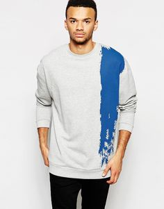 d56abd54513b ASOS Longline Oversized Sweatshirt With Brush Stroke at asos.com