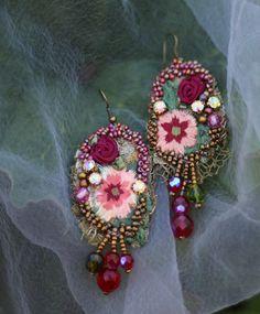 Summertime earringslong bold lace earrings by FleursBoheme on Etsy