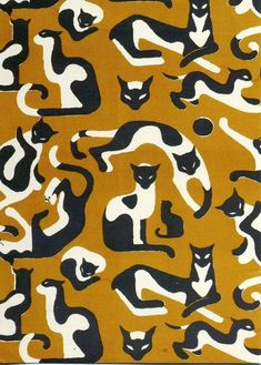 """""""Kattor"""" by Vicke Lindstrand, 1941 // A pattern created with black and white cats in many poses on a mustard background"""