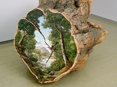 Beautiful Paintings on Fallen Tree Logs Mirror Their Natural Origins Artist Alison Moritsugu captures the essence of Mother Nature in her log paintings. These environmental pieces utilize trees as. Tree Logs, Tree Stumps, Tree Branches, Colossal Art, Art Mural, Wood Slices, Tree Slices, Autumn Trees, Tree Art