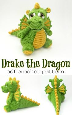 Dragon Amigurumi Dragon Amigurumi,Crochet & Knitting Super cute and detailed crochet pattern for this adorable dragon amigurumi pattern! Drake the Dragon would make the perfect handmade crocheted gift for any dragon loving child! Crochet Dinosaur Patterns, Crochet Dragon Pattern, Crochet Patterns Amigurumi, Crochet Dolls, Crochet Motifs, Free Crochet, Stuffed Animal Patterns, Crochet Projects, Art Projects
