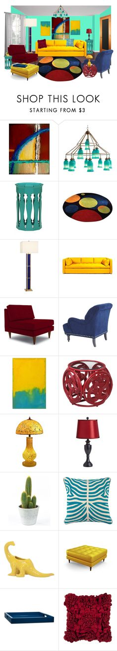 """bright"" by sterlingkitten ❤ liked on Polyvore featuring interior, interiors, interior design, home, home decor, interior decorating, Canopy Designs, Jonathan Charles Fine Furniture, Jonathan Adler and Joybird"