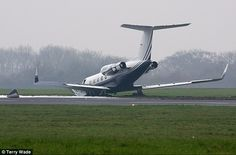 Dramatic: This jet crashed nose-first next to the runway at London's Biggin Hill airport l...