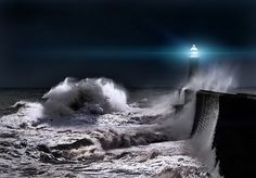 Tynemouth breakwater, stormy North Sea    By Richard Tierney