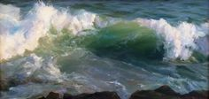 Sally Ladd Cole, 'Waves Over the Rocks', 12 x 24, Oil on Linen