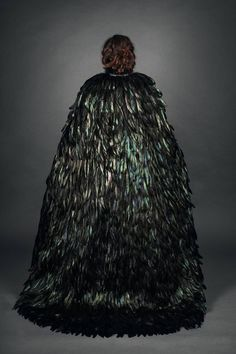 Black and Green Iridescent Feather Couture Maleficent Inspired Cape Raven Feather, Feather Cape, Witches Costumes For Women, Mythical Birds, Feather Fashion, Kona Cotton, Black Feathers, Maleficent, Masquerade