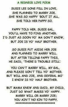 A redneck love poem - This really makes me lol