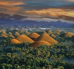 Bohol, Phillipines... These are the chocolate hills! Amazing rounded hills in the middle of the island.