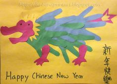 Chinese New Year week:Handprint Dragon Craft from Handprint and Footprint ART Chinese New Year Crafts For Kids, Chinese New Year Dragon, Happy Chinese New Year, Art For Kids, New Year's Crafts, Holiday Crafts, Arts And Crafts, China Crafts, Bug Crafts