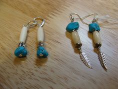 variations on turquoise nugget, horn pipe, and sterling silver ear rings  $10 - $15 (depending on components)