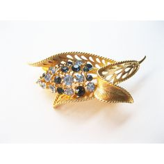 Lisner Leaf Brooch Blue Rhinestones Vintage ($23) ❤ liked on Polyvore featuring jewelry and brooches
