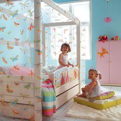 Cama Princess con dosel mariposas y cama nido