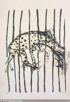 'Hyena: no. by Australian artist Brett Whiteley 2 color screenprint, edition of x 60 cm. via Art Gallery NSW Avant Garde Artists, Australian Artists, Line Drawing, Drawing Room, White Art, Art Market, Artist Painting, Paper Art, Moose Art