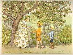 Elsa Beskow: Lasse liten-the trädgården - Fru Astrakhan Elsa Beskow, Art And Illustration, Baby Movie, Cicely Mary Barker, Fairytale Art, Vintage Images, Female Art, Illustrators, Book Art