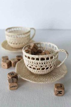 CROCHET TEA CUP SCULPTURE ART CREAM HANDMADE BY CREATIVECARMELINA,