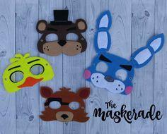 Cinco noches en Freddy - Freddy Fazbear, Bonnie, Chica, Foxy - FNAF - máscara de fieltro inspirado Favor fiesta, de vestir, traje de la imaginación, juego,